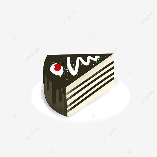 Contraste Noir Et Blanc Dessin Animé De Gâteau Mignon Assez