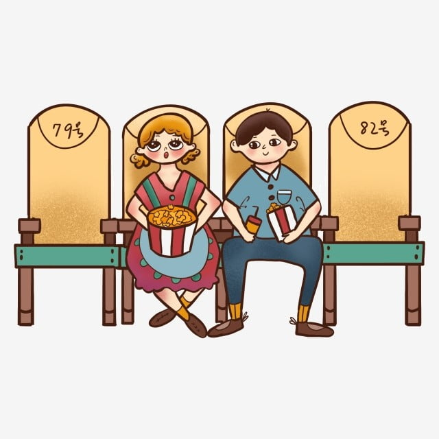 Fantastic Cartoon Cute Character Couple Sitting And Eating Popcorn Gmtry Best Dining Table And Chair Ideas Images Gmtryco