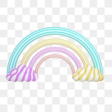 3d Three-dimensional Cartoon Clouds Rainbow, Cartoon Vector, Rainbow