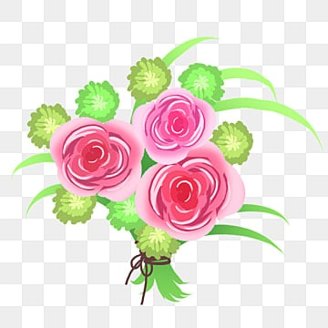 hand drawn rose flower bouquet illustration, Pink Flowers, Cartoon Illustration, Hand Drawn Illustration PNG and PSD
