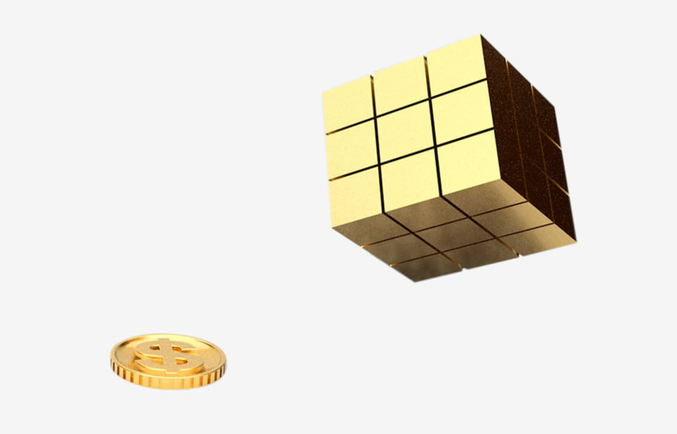 A Gold Coin Rubik S Cube Gold Object Png Transparent Clipart