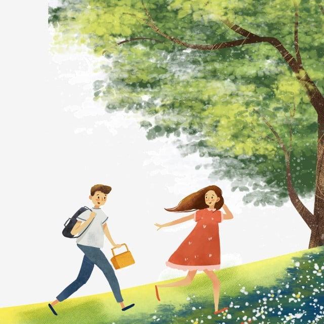 Karakter Kartun Bepergian Di Musim Semi Perjalanan Bermain Tanaman Musim Semi Png Transparan Gambar Clipart Dan File Psd Untuk Unduh Gratis