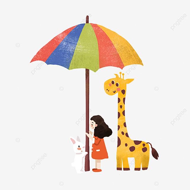 Gadis Payung Berwarna Haiwan Kartun Ilustrasi Haiwan Zirafah Kartun Zirafah Kartun Fail Png Dan Psd Untuk Muat Turun Percuma