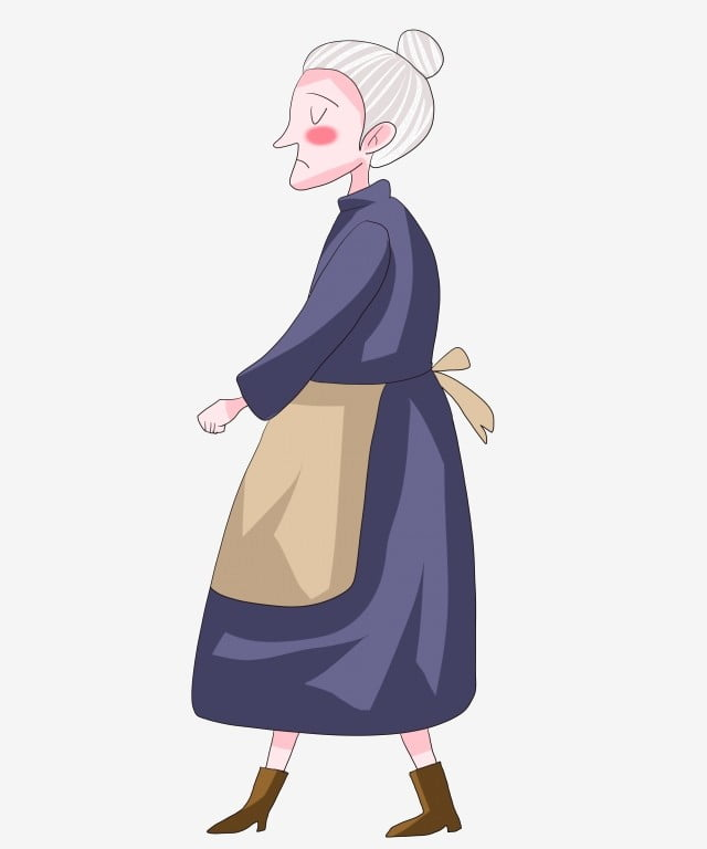 Cartoon Hand Drawn Old Lady Illustration Old Lady Clipart Old Lady Lonely Old Woman Png Transparent Clipart Image And Psd File For Free Download