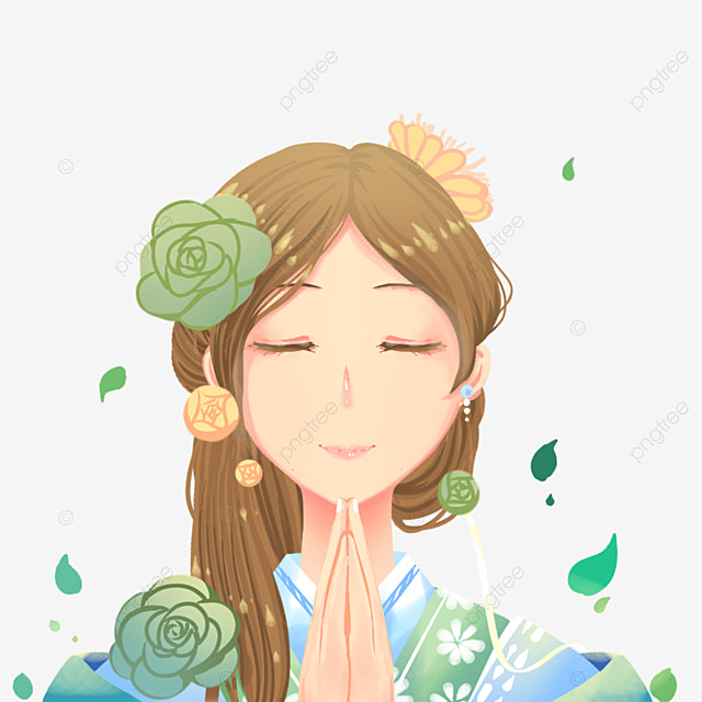 Fashion Girl Free Clipart, Green Leaves, Pray, Pretty Girl