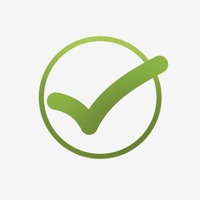 Green Gradient Color Fresh Tick Symbol, Symbol, Tick, Hook