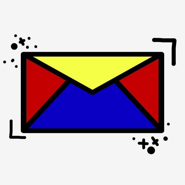 Sampul Surat Sms Flat Ui Kartun Kartun Mondrian Skema Warna Fail Png