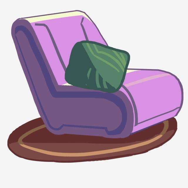 Purple Sofa Chair Illustration Purple Pillow Shaking Png