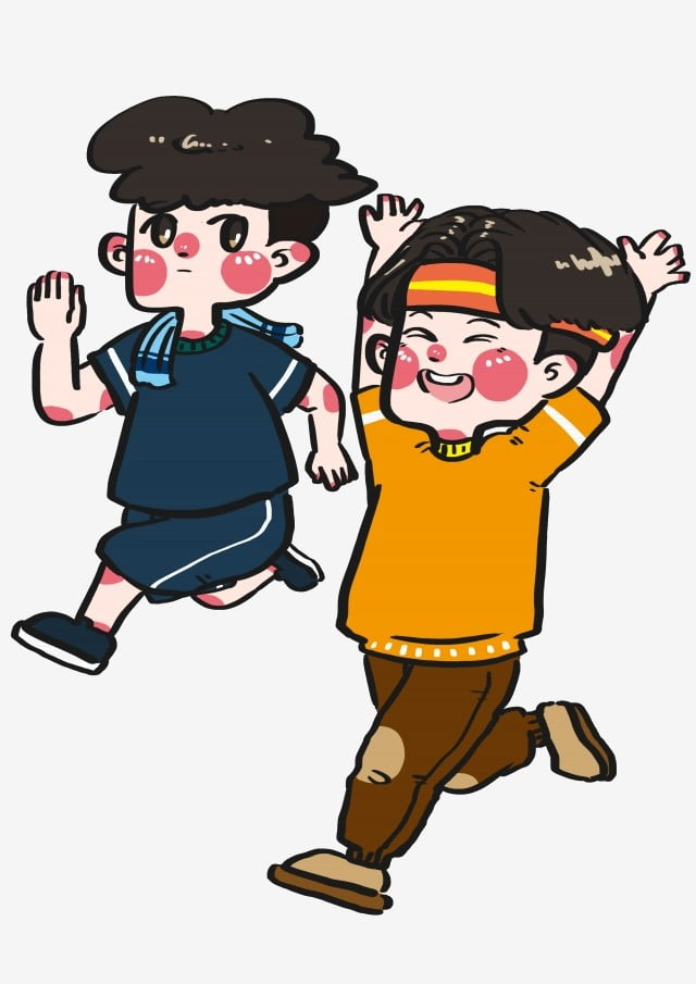 Sport Fitness Good Friends Running Together Exercising Body Cartoon Hand Drawn Sport Fitness Good Friends Together Png Transparent Clipart Image And Psd File For Free Download