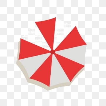 Red And White Beach Umbrella Icon Flat