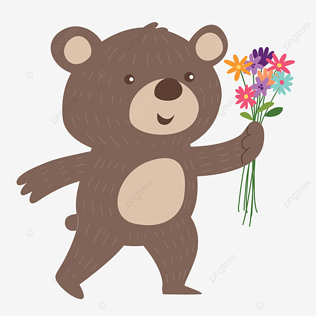 pngtree bear delivering flowers free of charge image 1369088