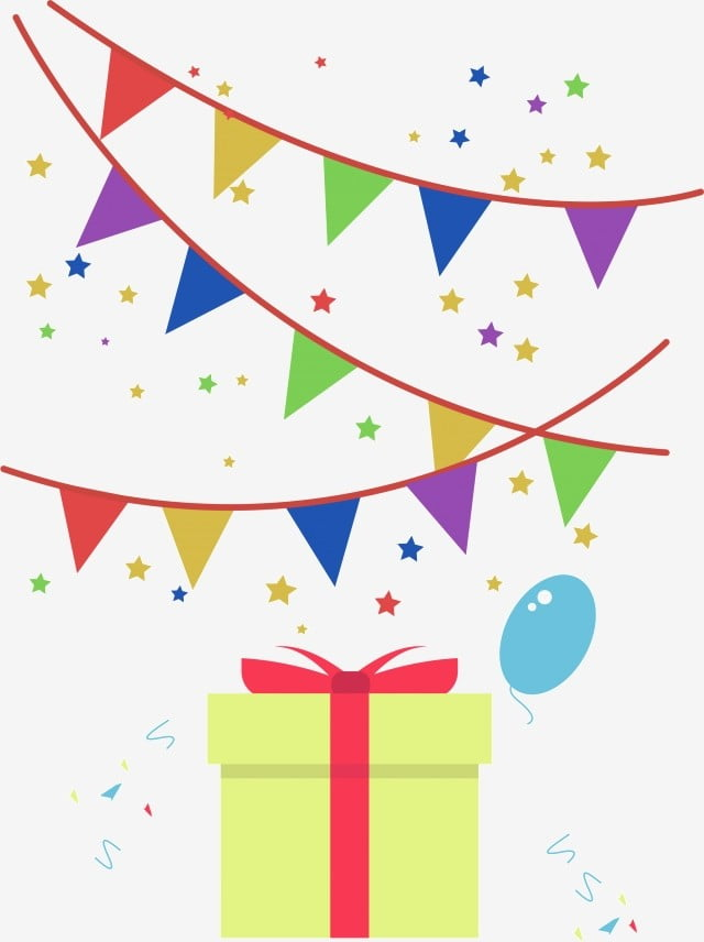 Birthday Gift Box Ribbon Celebration Simple Hand Painted Png