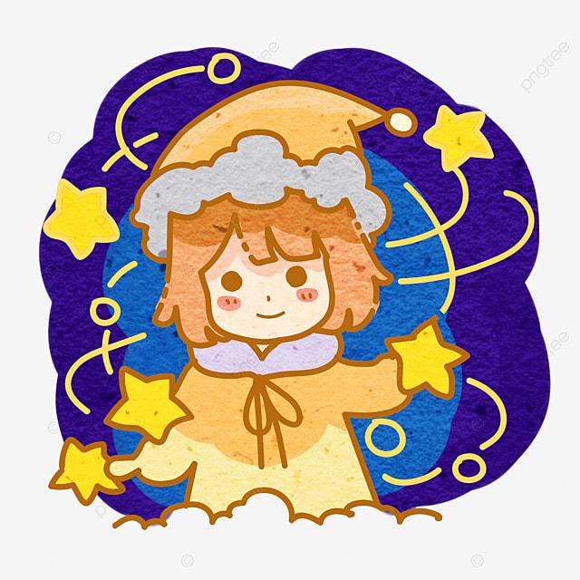 Fantaisie Petites étoiles Fille De Dessin Animé Dessin Animé