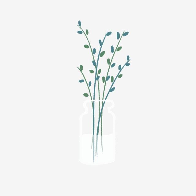 Dessin Animé Plante Vase En Verre Avec Bande Dessinée Figure