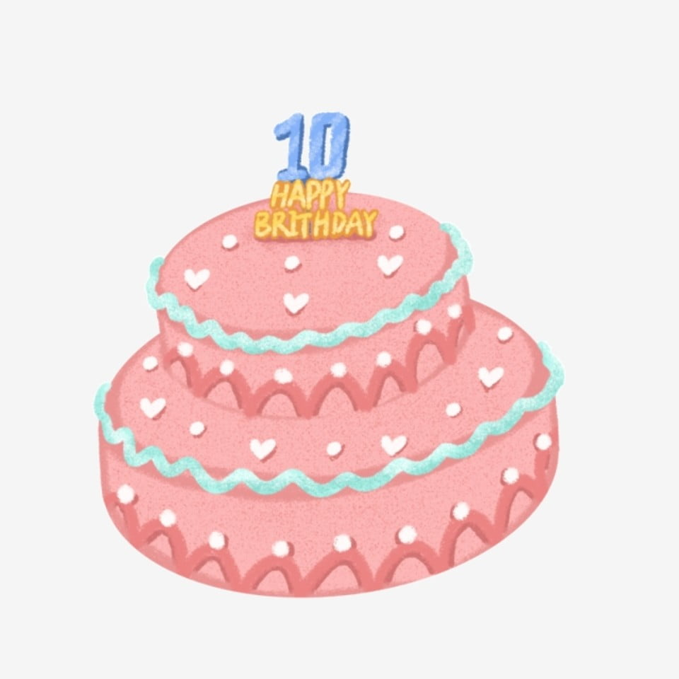 Hand Drawn Cartoon Birthday Cake Free Buckle Element PNG And PSD