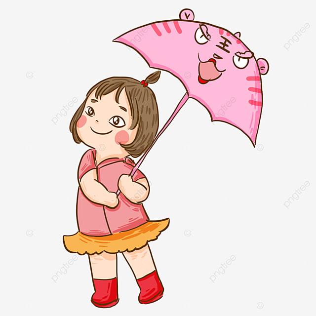Petite Fille Avec Parapluie Personnage De Dessin Animé