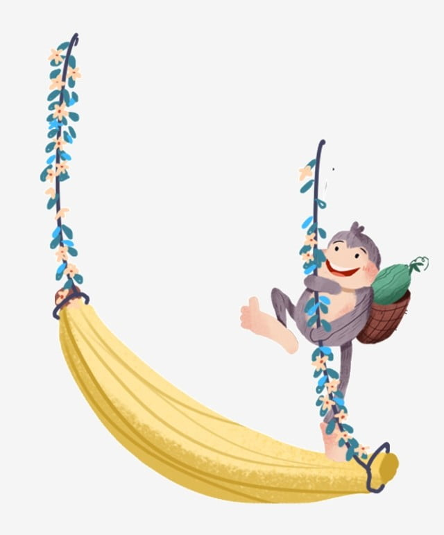 Hand Drawn Cartoon Monkey Swinging Free Button Element