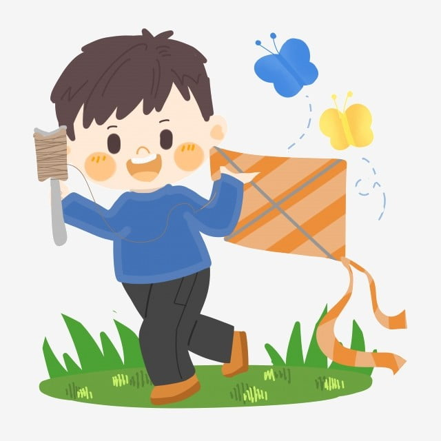 Spring cartoon. Boy flying kite png