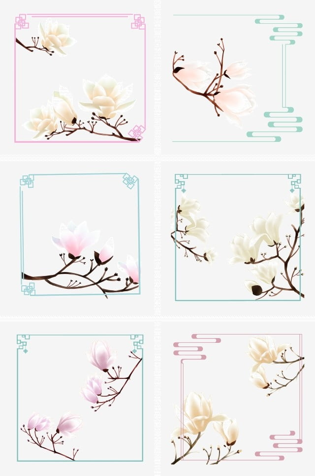 Spring Flowers Magnolia Flowers Retro Painting Border Collection