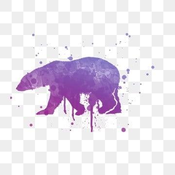 Cartoon purple blue polar bear ink painting, Cartoon, Ink Painting, Purple Gradient PNG and PSD illustration image