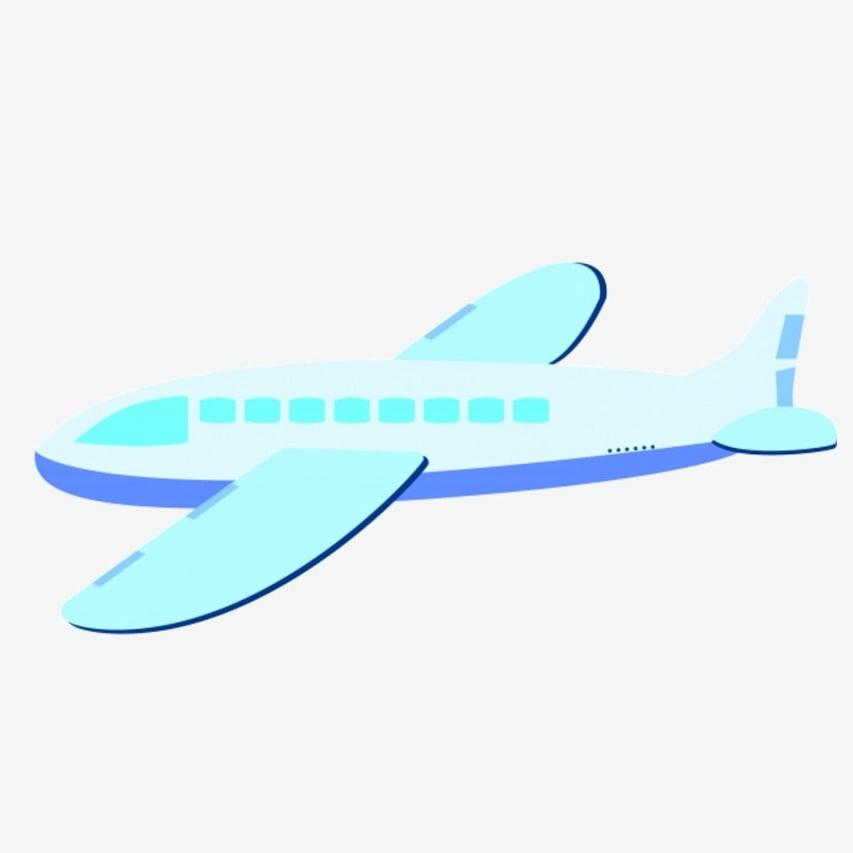 Blue Large Passenger Plane Illustration Flying Passenger Plane