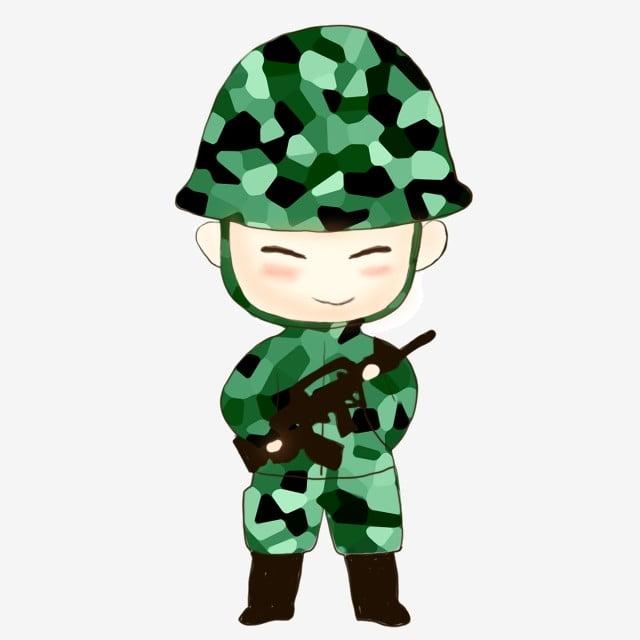 Cute Little Man With A Gun Wearing A Camouflage Uniform, Cartoon