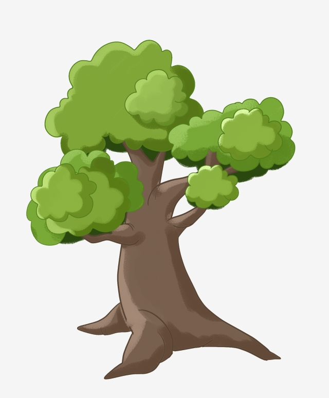 Illustration Of A Cartoon Big Tree Big Tree Green Leaf Tree Green Leaves Png Transparent Clipart Image And Psd File For Free Download