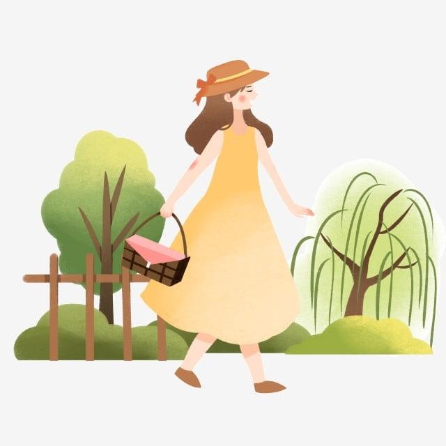 Illustration De La Tournée De Printemps Petite Fille Chapeau