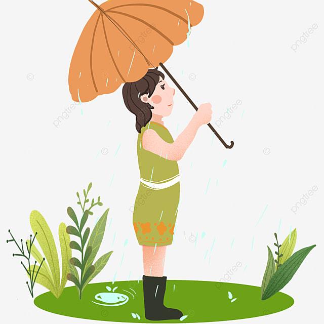 Illustration De Caractère Gu Yu Petite Fille Avec Parapluie