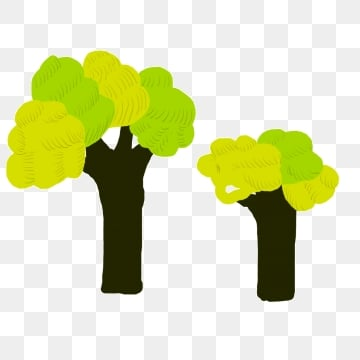 two big trees in the forest  green cartoon, Big, Tree, Green PNG และ PSD