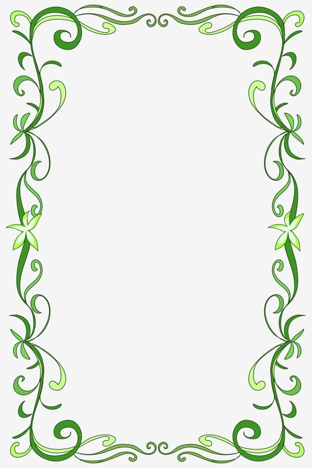 Green Floral Border PNG Download Image | PNG Arts |Green Flower Border