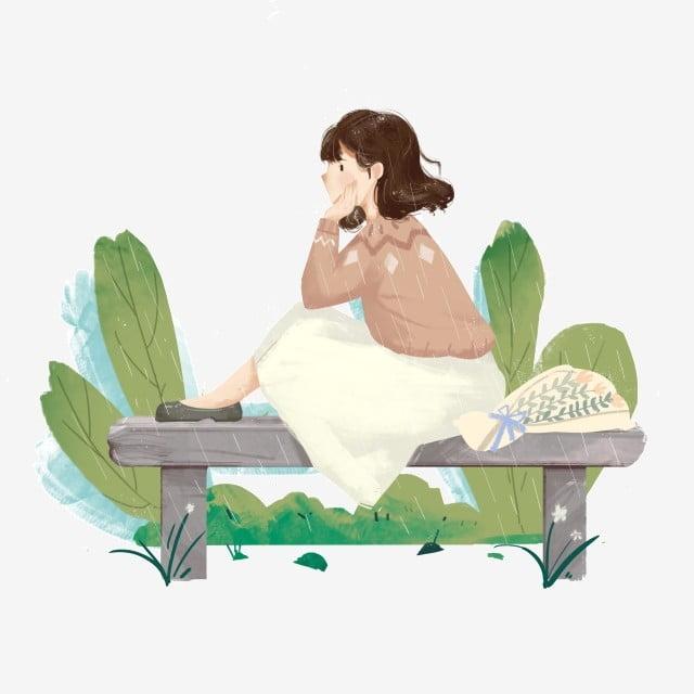 Chica Pensativa Ilustración De Dibujos Animados Ilustración Del ...