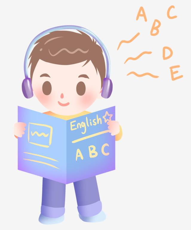 English Learning Little Boy Illustration, English Learning