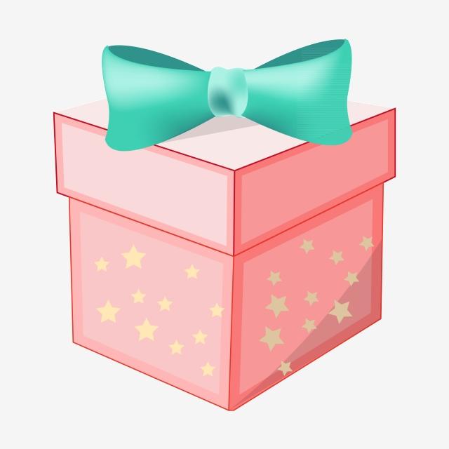 Pink Birthday Gift Box Birthday Present Green Bow Celebration Png