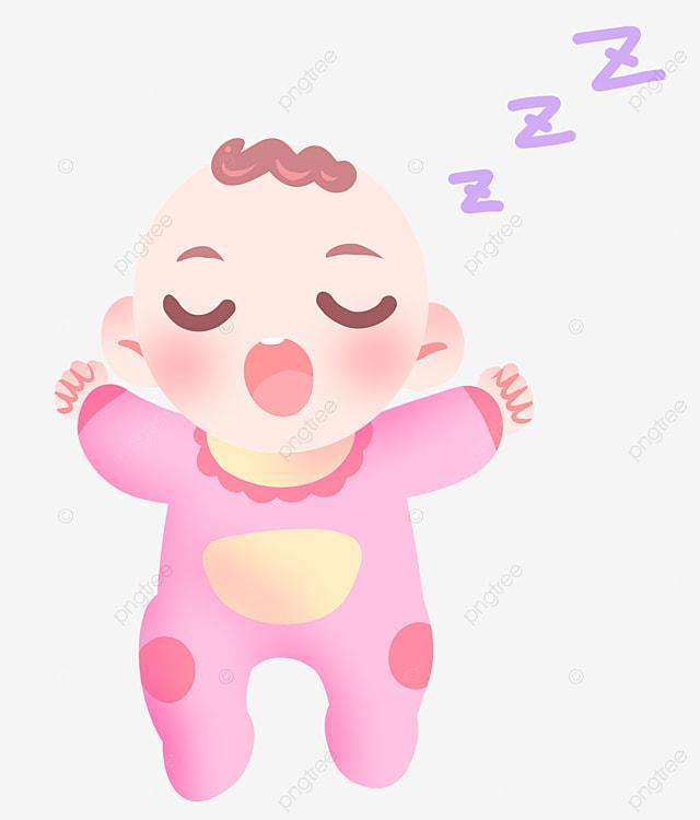 Bébé Qui Dort Illustration De Dessin Animé Crier Robe Rose