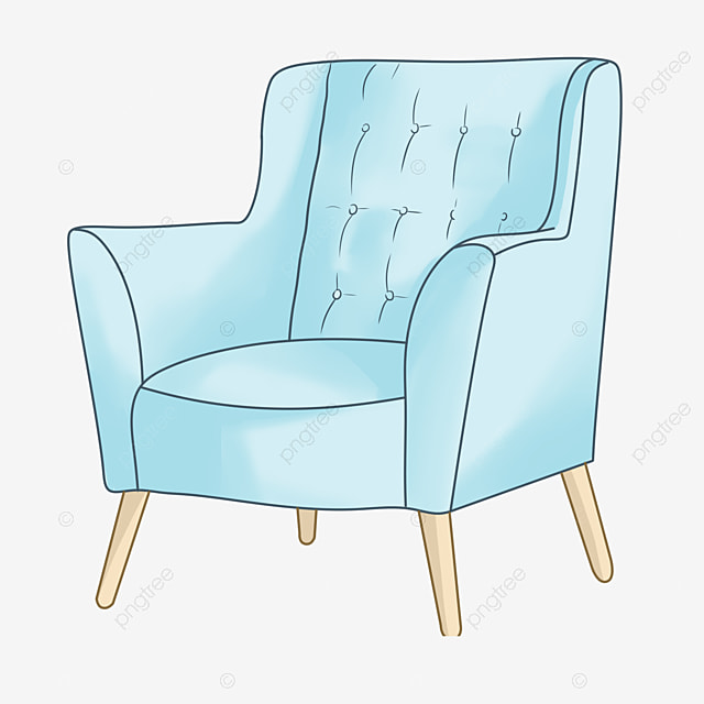 Sofa Furniture Cartoon Illustration Blue Sofa Cartoon