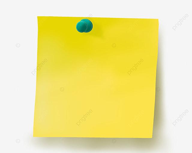Square Note Paper Cartoon Illustration, Square Note Paper, Cartoon Note Paper, Green Pin PNG ...