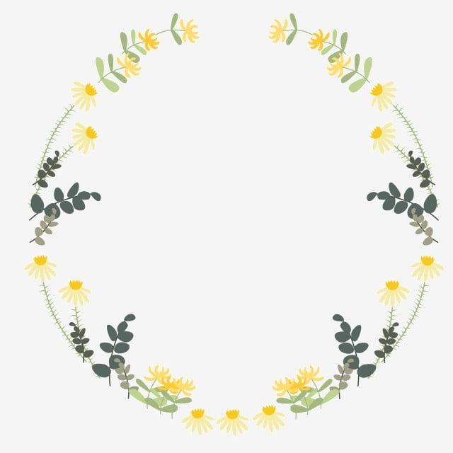 Yellow Flower Wreath Illustration Yellow Flowers Cartoon