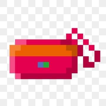 ภาพประกอบของกระเป๋าเครื่องสำอางพิกเซล, กระเป๋าเครื่องสำอางสีแดง, ภาพประกอบการ์ตูน, ภาพประกอบพิกเซล PNG และ PSD