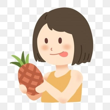 pngtree cute eating pineapple girl image 1474356