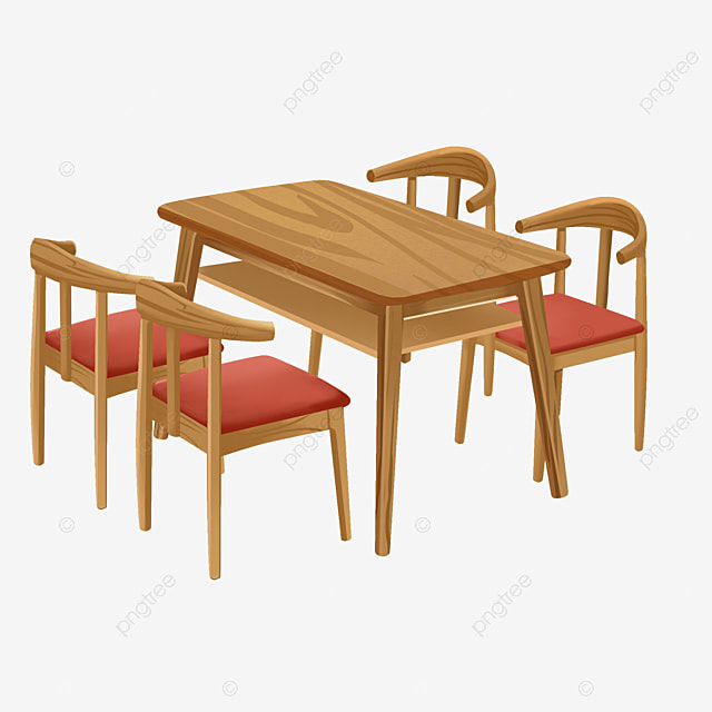 Realistic Dining Tables And Chairs Table Clipart Wooden Dining Table Png Transparent Clipart Image And Psd File For Free Download