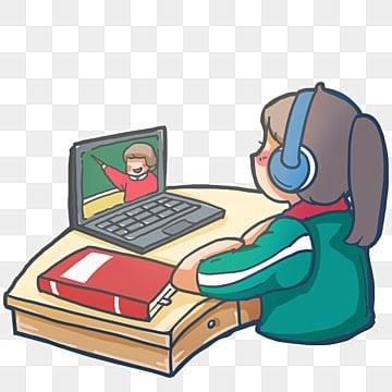 Онлайн обучение на дому, образовательный клипарт, серьёзность, Школьница PNG и PSD