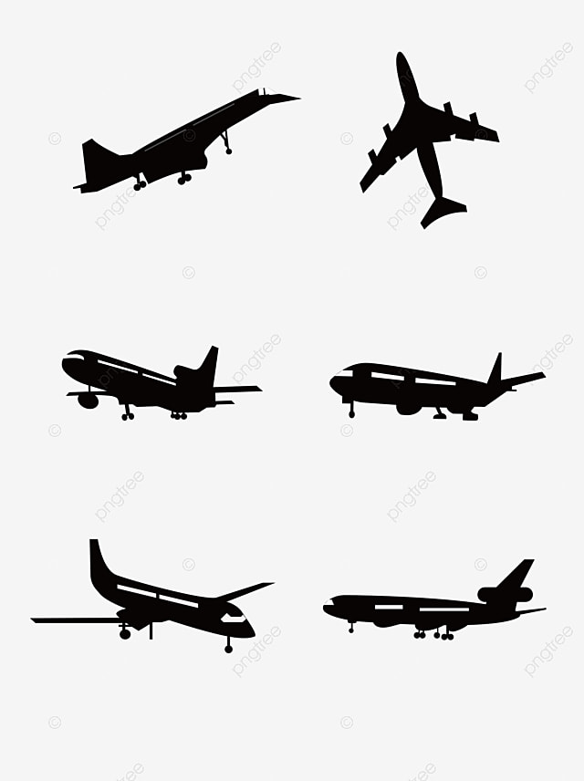 Airplane Silhouette Vector Material Aircraft Vectors Material