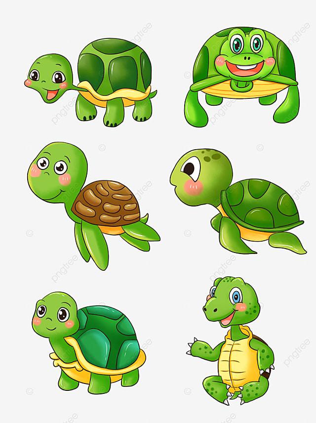 Cute Cartoon Green Turtle Tortoise Sea Turtle Creeping Turtle