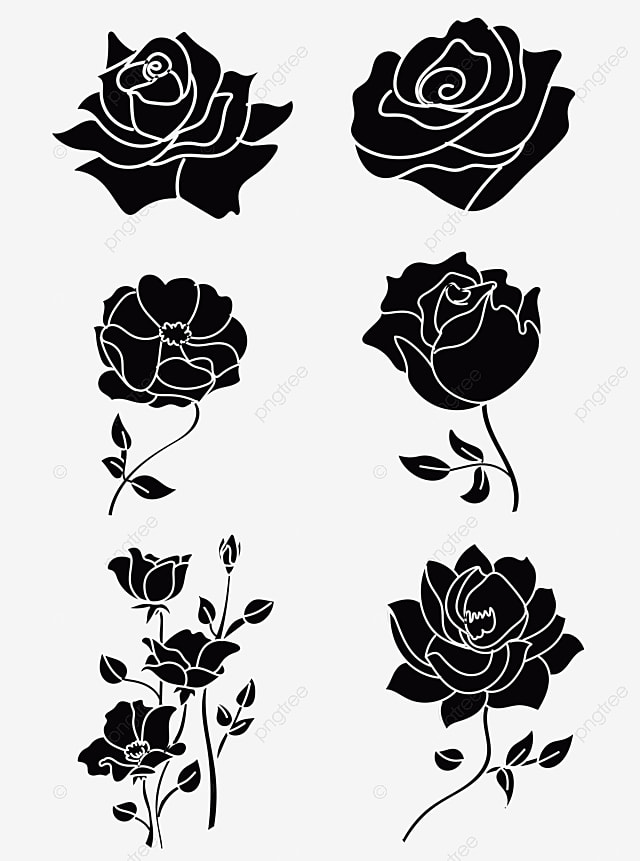 Gambar Bunga Mawar Kartun Hitam Putih