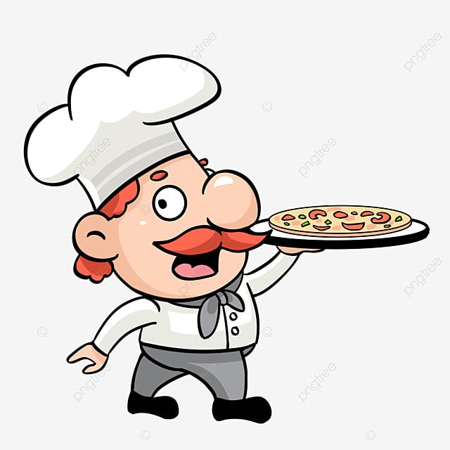 الشيف الكرتون عقد بيتزا لذيذة في اليد ناقل توضيحات كرتون يطبخ بيتزا Png وملف Psd للتحميل مجانا