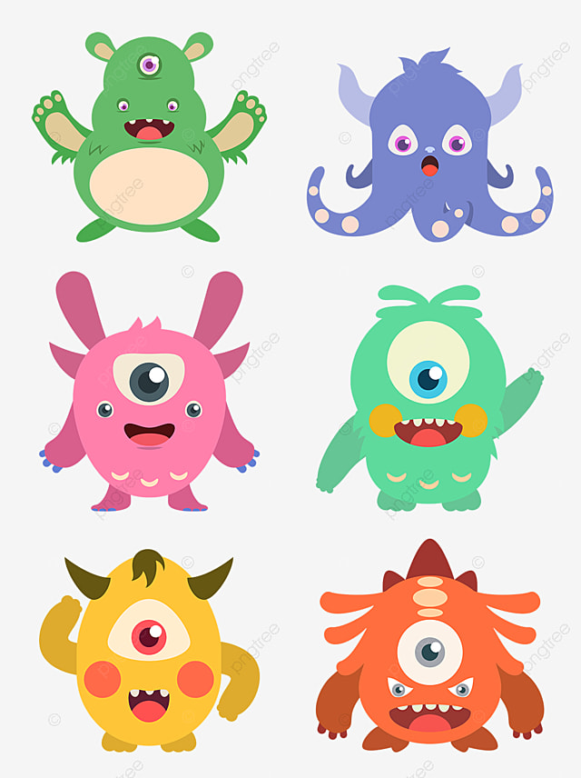 Cartoon Design Of Cute Little Monster With Big Eyes And Small