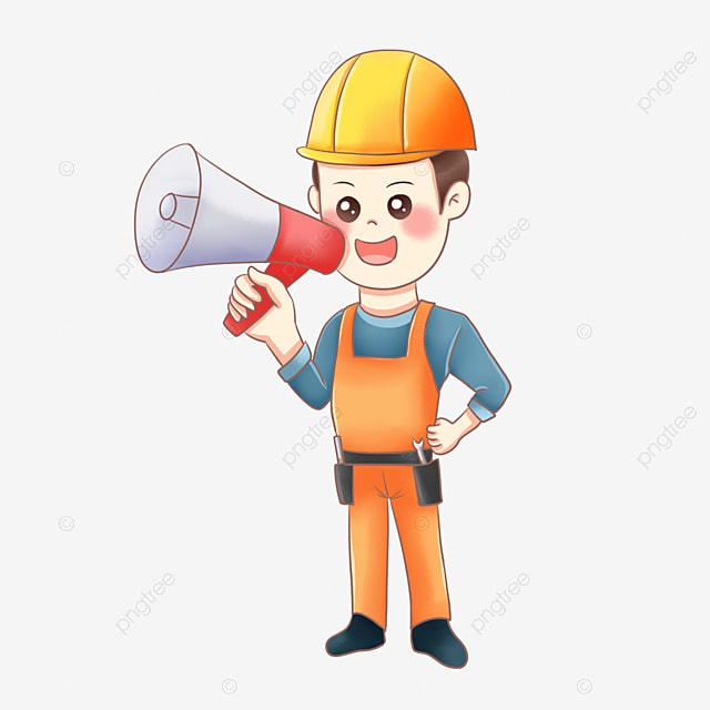 Gambar Bahan Vektor Pekerja Menjerit Kartun Clipart Pekerja Teriak Tanduk Png Dan Psd Untuk Muat Turun Percuma