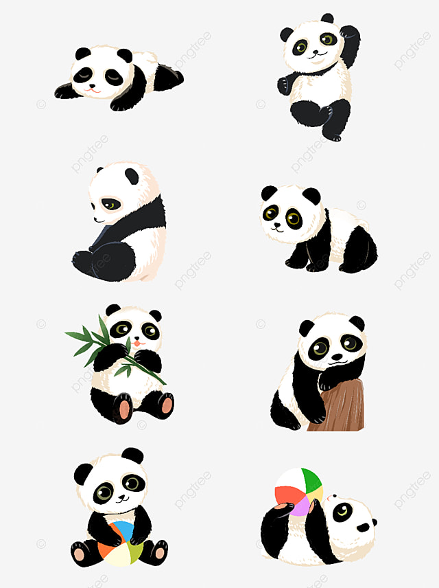 pngtree hand drawn cartoon cute national treasure panda set illustration image 2288236