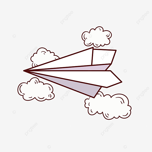 Simple Line Paper Plane And Cloud Cartoon Png Free Material